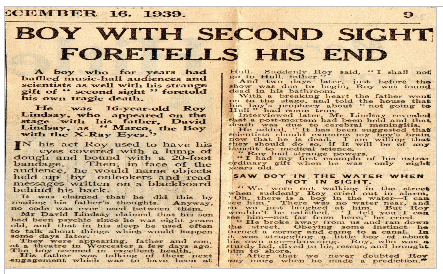 newspaper article about Roy who predicted his own death