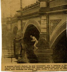 the Death Defying Duncan jumps off a bridge